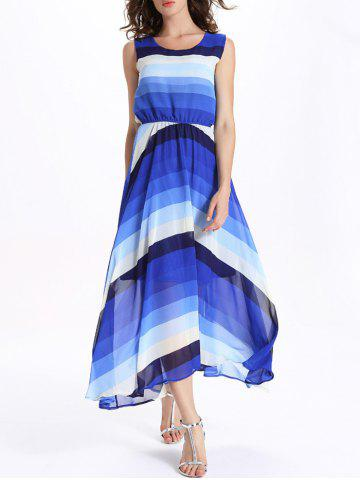 Discount Ombre Stripe Sleeveless Maxi Flowing Swing Dress