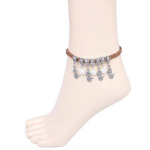 Discount Ethnic Bohemia Faux Pearl Mermaid Anklet For Women FLAXEN