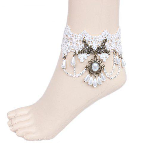 Affordable Vintage Faux Pearl Beads Lace Anklet