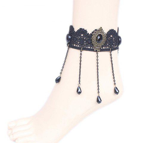 Fashion Faux Crystal Water Drop Beads Anklet BLACK
