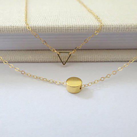 Trendy Mini Pendants Double Layered Geometric Necklace - GOLDEN  Mobile