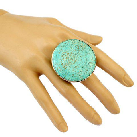 Outfit Stylish Faux Turquoise Round Opening Ring For Women