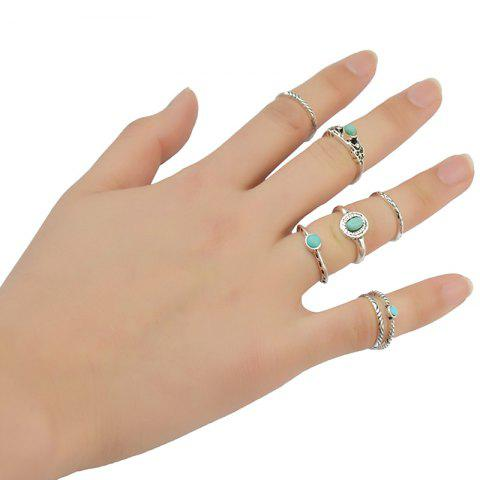 Affordable 7 Pcs/Set Ethnic Faux Turquoise Embossed Rings