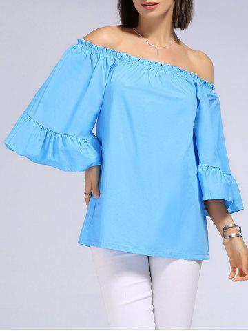 Store Sweet Off-The-Shoulder Patchwork Solid Color T-Shirt For Women AZURE L