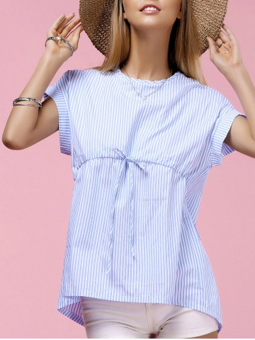 Fashionable Round Neck Dolman Sleeve Striped Blouse For Women - BLUE L