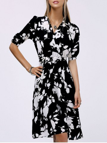 Sale Fashionable V-Neck Floral Print Midi Dress For Women