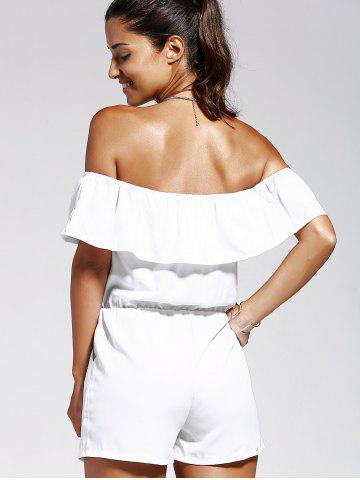 Online Off The Shoulder Solid Color Romper - M WHITE Mobile