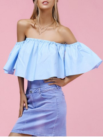 Chic Trendy Off-The-Shoulder Pure Color Women's Blouse