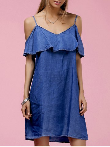Buy Fashionable Strappy Ruffled Cold Shoulder Denim Dress For Women