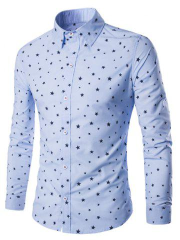 Affordable Turn-Down Collar Stars Printed Long Sleeve Shirt For Men