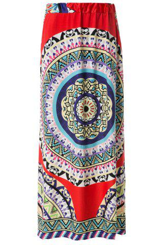 Unique Women's Bohemian Mid-Waisted Printed Floor-Length Skirt