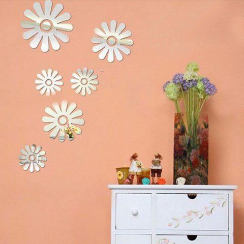 Discount Stereo Applique Removeable 3D Mirror Wall Sticker SILVER