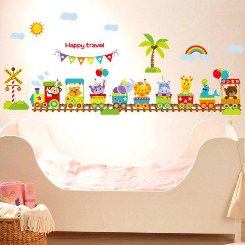 Shops Sweet Cartoon Animals Train Letter Wall Stickers For Nursery