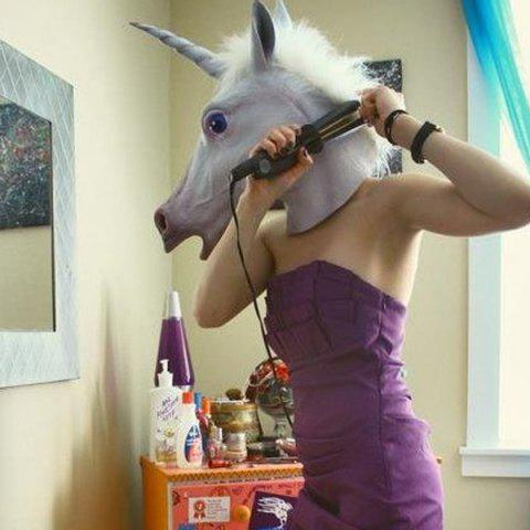 Trendy Halloween Prop Supplies Unicorn Mask Cosplay Prop - WHITE  Mobile