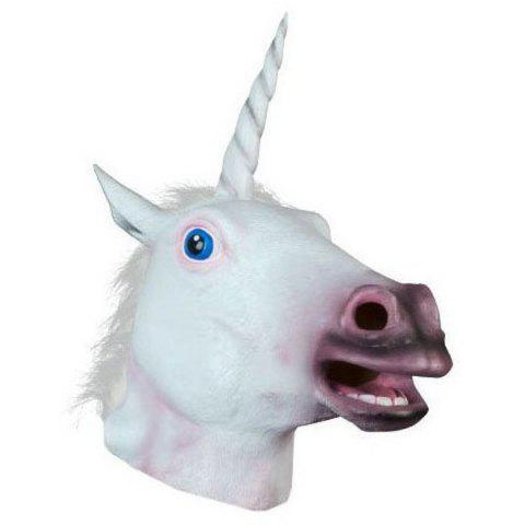 Shop Halloween Prop Supplies Unicorn Mask Cosplay Prop - WHITE  Mobile