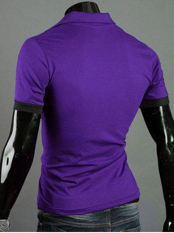 Unique Turn-Down Collar Giraffe Embroidered Short Sleeve Polo T-Shirt For Men - PURPLE L Mobile