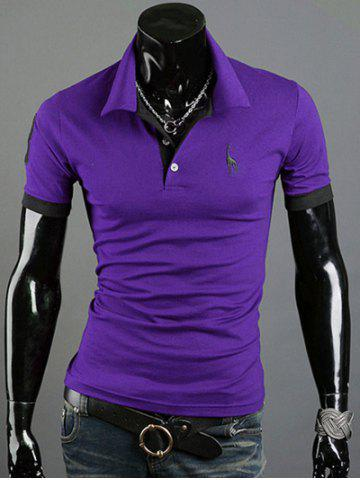 Buy Turn-Down Collar Giraffe Embroidered Short Sleeve Polo T-Shirt For Men - PURPLE L Mobile
