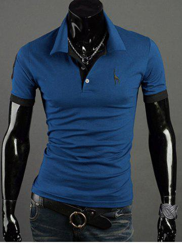 Fashion Turn-Down Collar Giraffe Embroidered Short Sleeve Polo T-Shirt For Men - 2XL BLUE Mobile