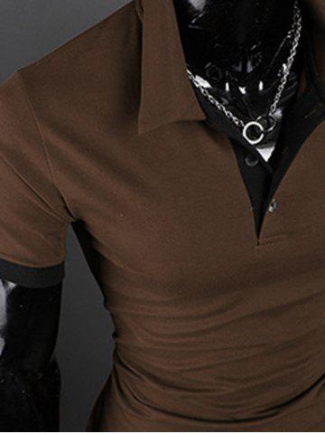 New Turn-Down Collar Giraffe Embroidered Short Sleeve Polo T-Shirt For Men - COFFEE M Mobile