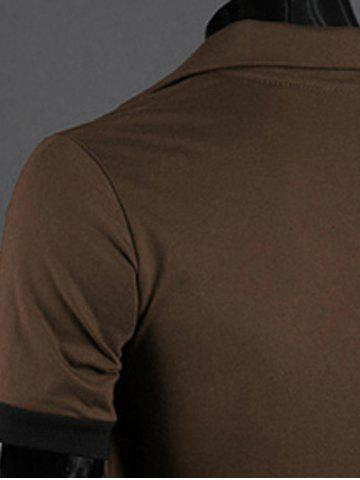 Trendy Turn-Down Collar Giraffe Embroidered Short Sleeve Polo T-Shirt For Men - COFFEE M Mobile