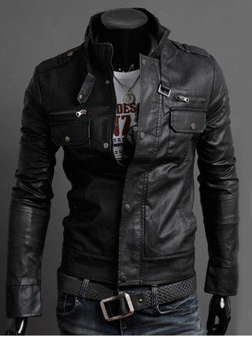 Sale Stand Collar PU-Leather Belt Embellished Epaulet Long Sleeve Jacket For Men BLACK M