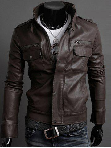 Stand Collar PU-Leather Belt Embellished Epaulet Long Sleeve Jacket For Men - Dark Coffee - Xl