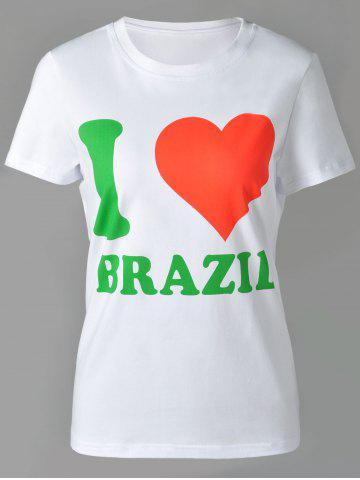 Buy Casual Round Neck Letter and Heart Print Short Sleeve T-Shirt For Women WHITE XL