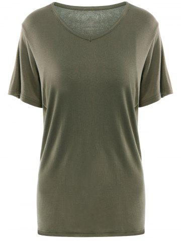 Trendy Simple V Neck Short Sleeves Pure Color Women's T-Shirt ARMY GREEN XL