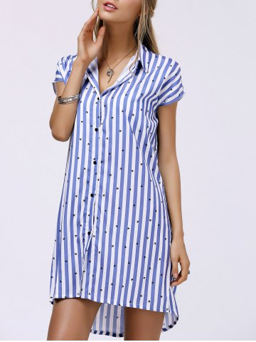 Discount Fashionable Shirt Collar Striped High Low Dress For Women