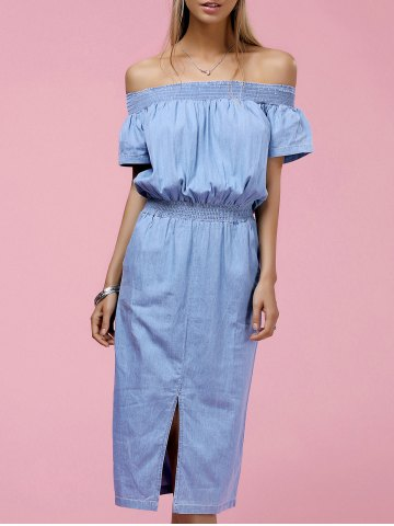 Outfits Stylish Off The Shoulder Short Sleeve Slit Dress For Women