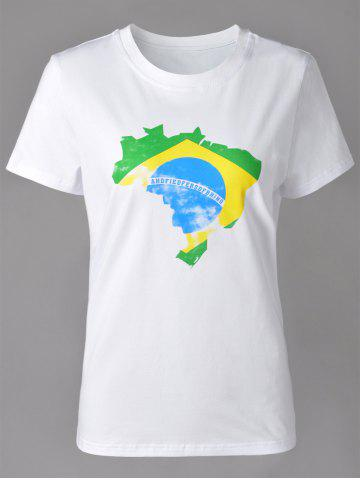 Casual Round Neck Map Print Short Sleeve T-Shirt For Women - WHITE XL