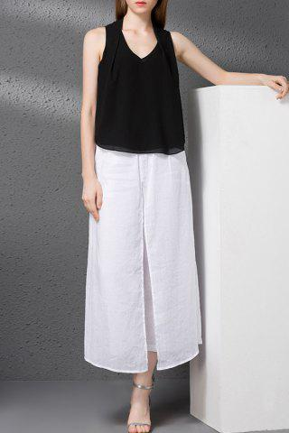 Fashion V-Neck Tank Top and Embroidery Wide Leg Pants Twinset