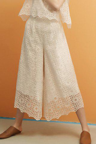 Best Lace Hollow Out Zippered Wide Leg Pants