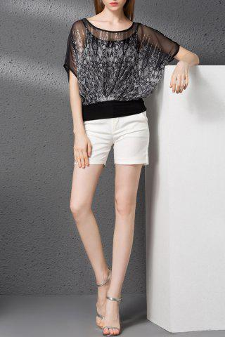 Buy Print T-Shirt and Solid Color Shorts Twinset