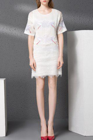 Outfit Zippered Embroidery Hollow Out Dress