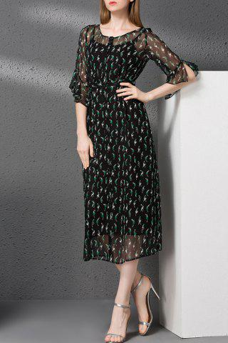 Fancy Camisole Dress and Button Detail Print Dress Twinset