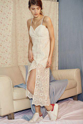 Online Spaghetti Strap High Slit Lace Dress