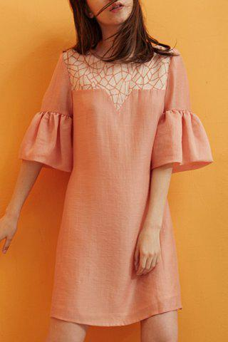 Shop Coral Textured Puff Sleeve Mini Dress