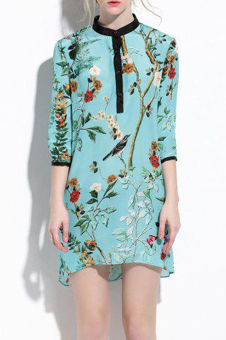 Fancy Stand Collar Floral Pattern Asymmetric Dress