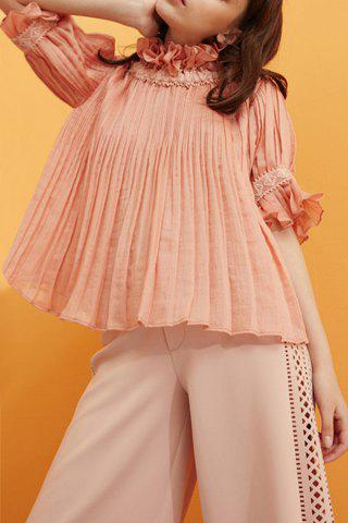 Shop Convertible Ruffles Solid Color Pleated T-Shirt