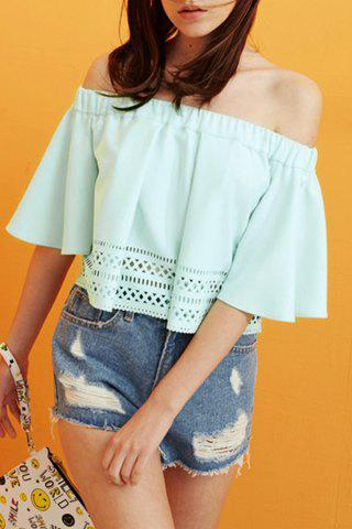 Cheap Off The Shoulder Flounced Hollow Out T-Shirt