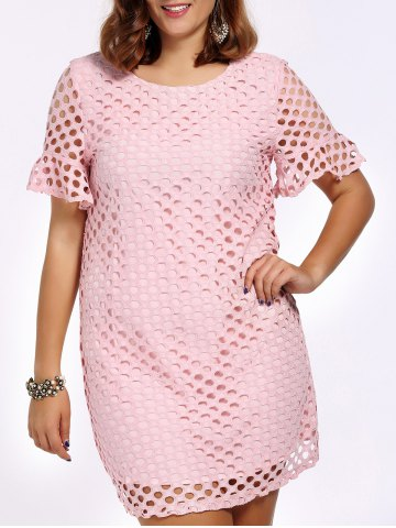 Latest Sweet Plus Size Hollow Out Flare Sleeve Women's Dress