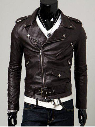 Latest Turn-Collar PU-Leather Belt Embellished Epaulet Long Sleeve Jacket For Men