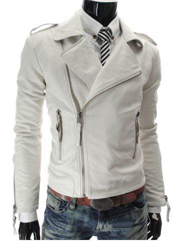 Store Stand Collar PU-Leather Zipper Epaulet Long Sleeve Jacket For Men WHITE 2XL