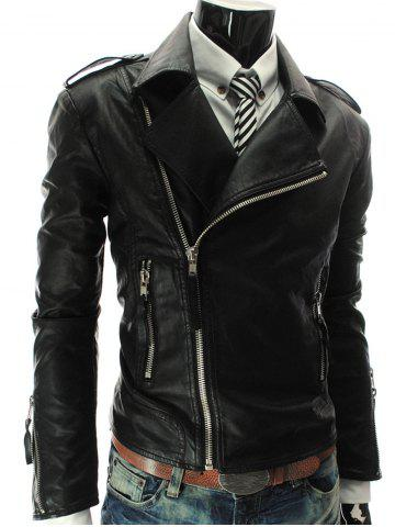 Chic Stand Collar PU-Leather Zipper Epaulet Long Sleeve Jacket For Men BLACK L