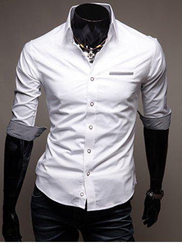 Discount Turn-Down Collar Edging Design Shirt For Men WHITE L