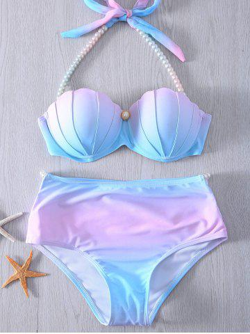 Outfit Halter Pearl Embellished Ombre Seashell Bikini Set - XL BLUE AND PINK Mobile