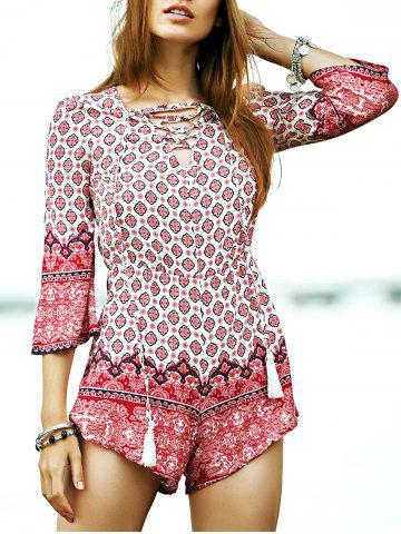 New Trendy Lace-Up Ethnic Pattern Women's Playsuit