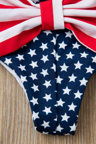 Online Bowknot American Flag Swim Bottom - S DEEP BLUE Mobile
