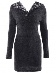 Simple V-Neck Long Sleeve Bodycon Women's Dress - DEEP GRAY